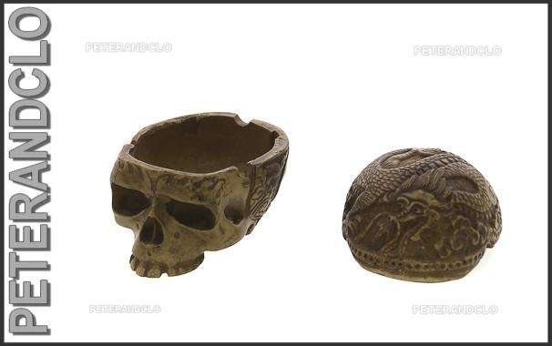 Cendrier crane tete de mort sculpte de dragon 6101 ebay for Chaise a palabre