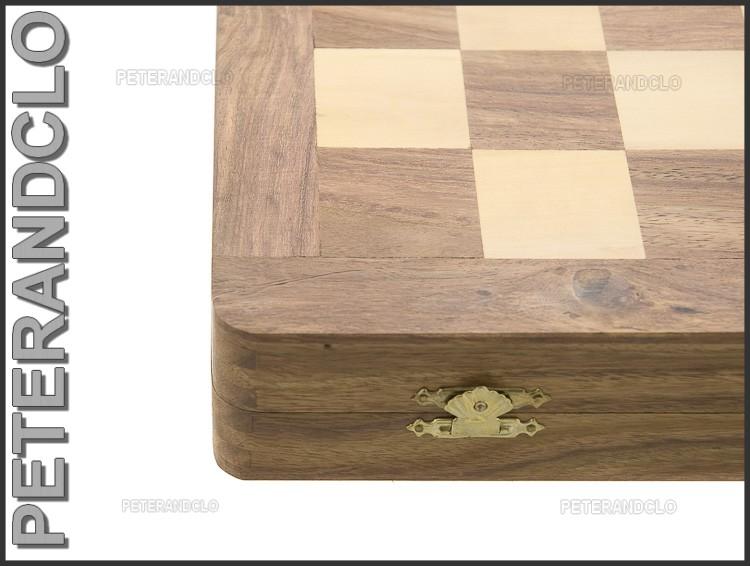 Echiquier jeu d 39 echecs bois 35 x35 cm fait main inde - Echiquier en bois fait main ...