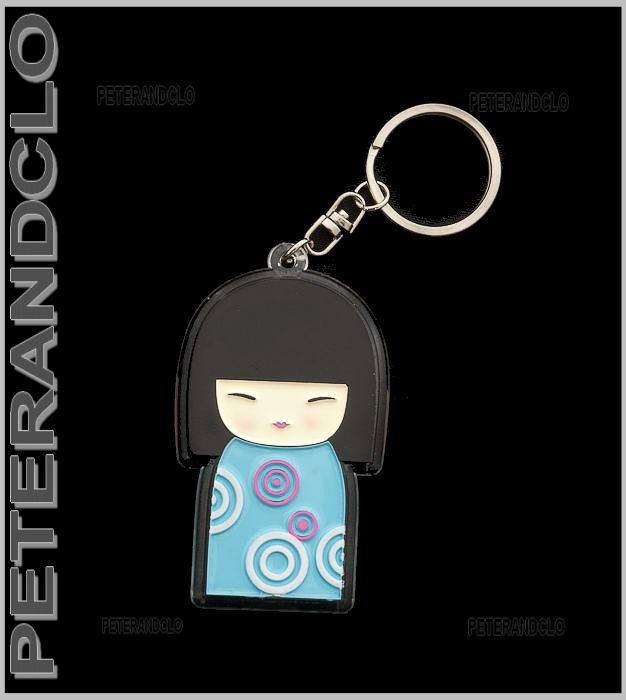 Porte cles collection poupee japonaise kokeshi bleue e7 for Porte japonaise