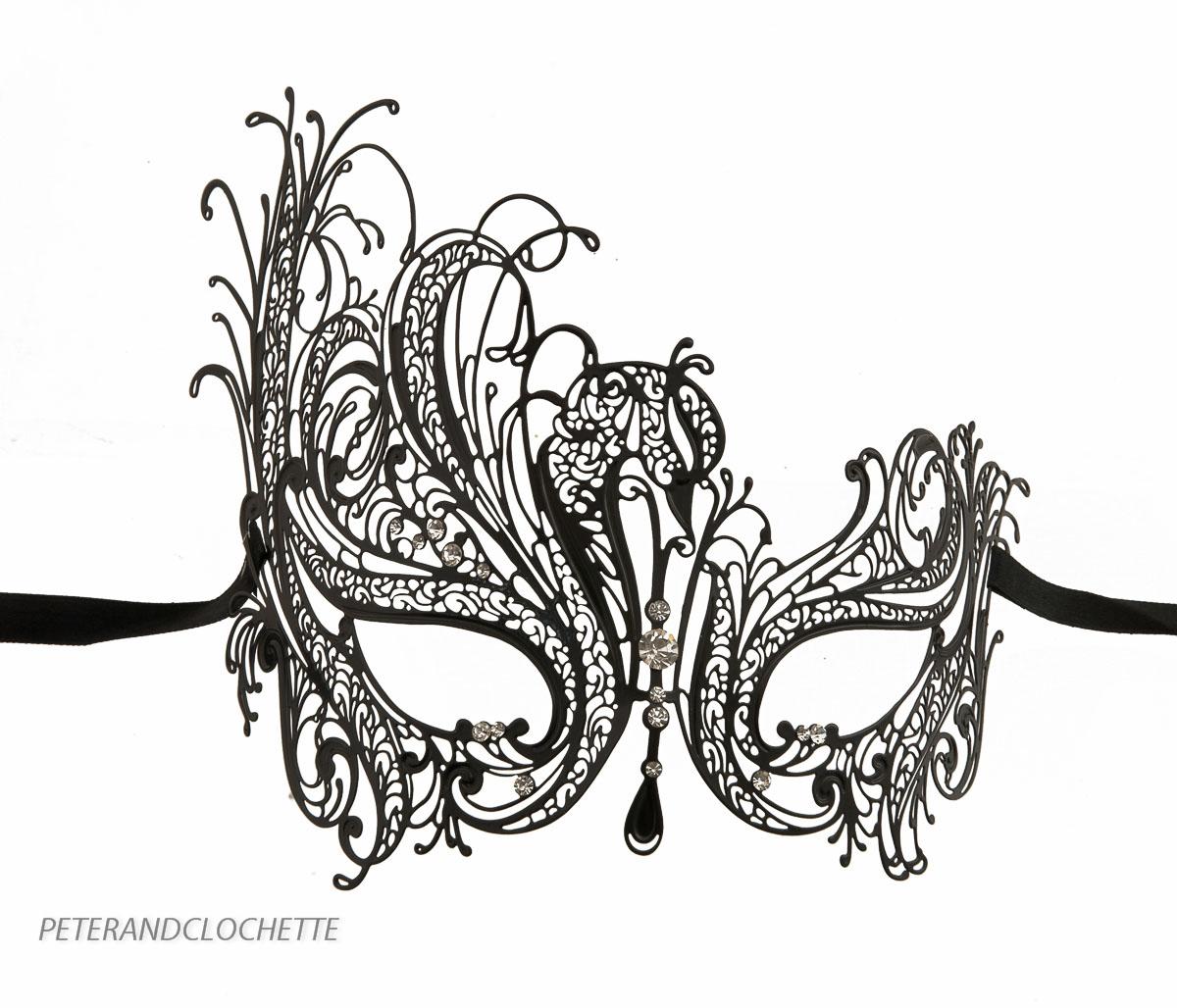 Masque de venise de luxe venitien dentelle de metal noir - Masque venitien a imprimer ...