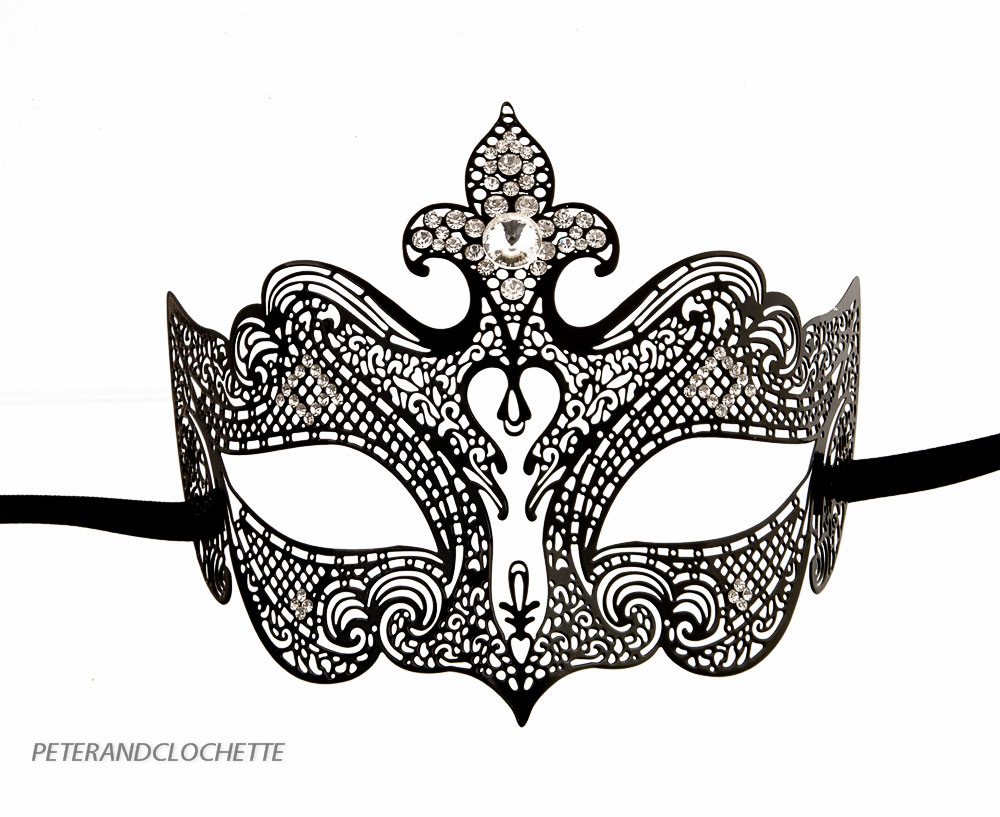 Masque de venise anita loup venitien dentelle de metal noir et strass 91 v66 ebay - Masque loup a imprimer ...