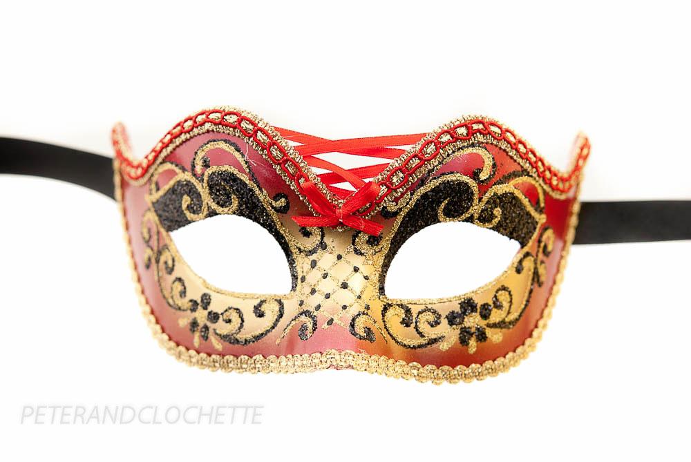 masque de venise colombine burlesque rouge et dore pour bal masque 953 v4b ebay. Black Bedroom Furniture Sets. Home Design Ideas