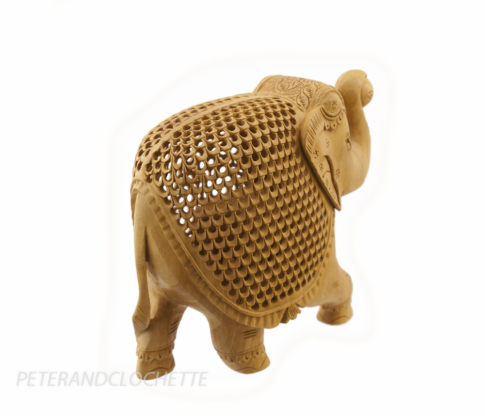 grand elephant bois trompe en l air sculpture indienne d 39 art de dentelle 6588 ebay. Black Bedroom Furniture Sets. Home Design Ideas