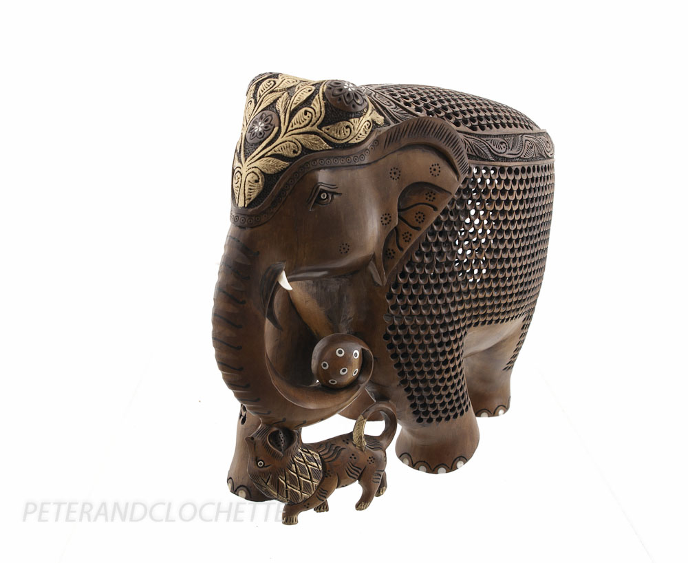 statue elephant bois sculpture indienne d 39 art de dentelle