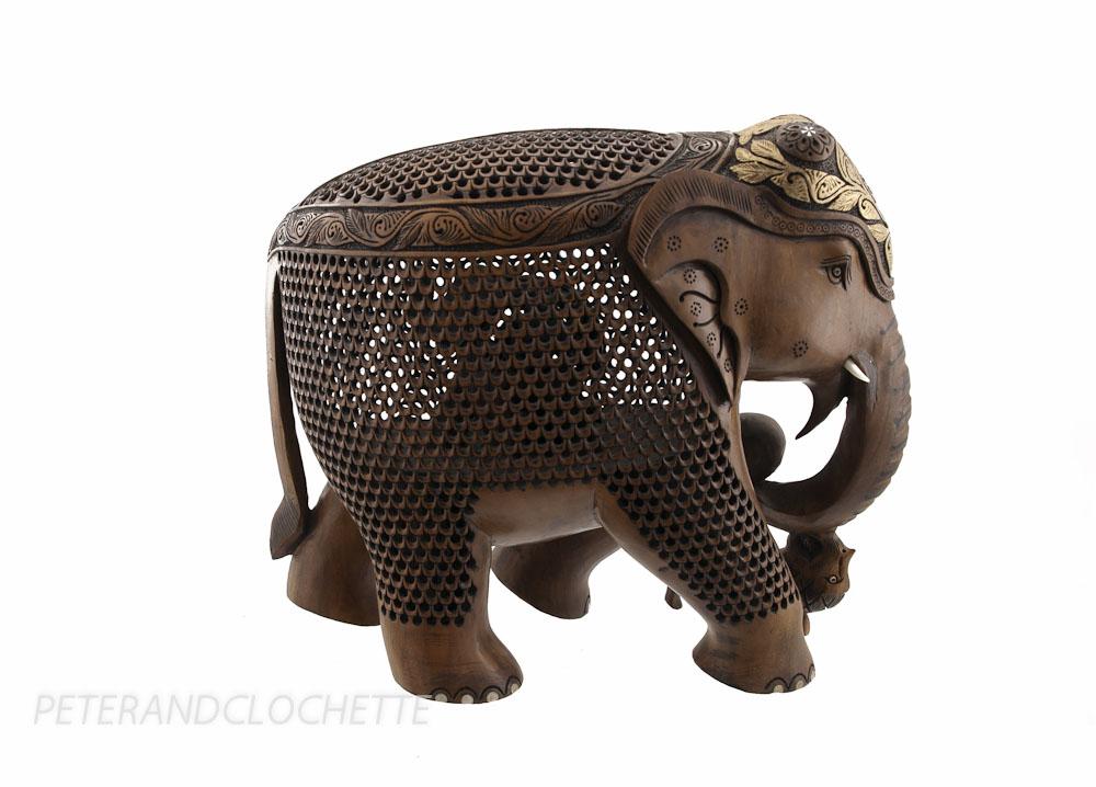 STATUE ELEPHANT BOIS SCULPTURE INDIENNE D ART DE DENTELLE OEUVRE