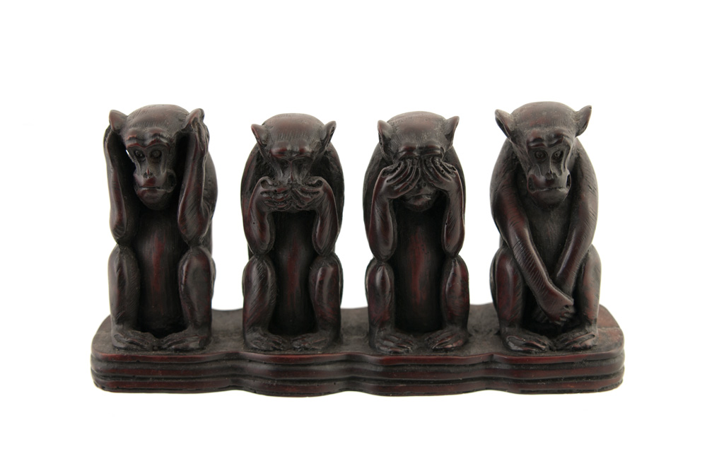4 singes de la sagesse en resine 1kg4 artisanat du monde h. Black Bedroom Furniture Sets. Home Design Ideas