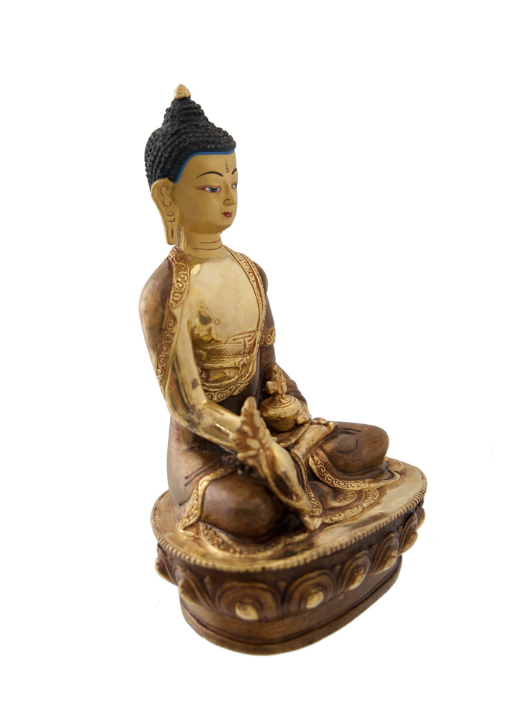 statue tibetaine bouddha ratnasambhava cuivre et or nepal. Black Bedroom Furniture Sets. Home Design Ideas